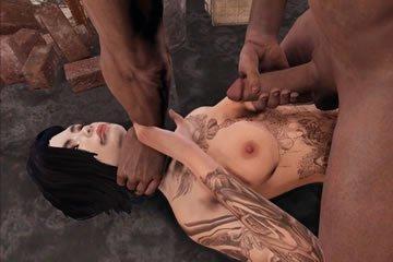 Virtuális szex - tetovált szexbomba kefél